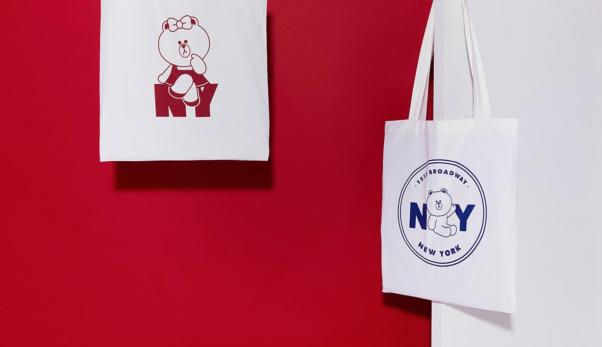 韓國代購LINE FRIENDS紐約系列布朗熊帆布包單肩包環保購物袋手提