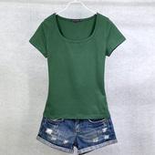 打底衫 纯色体恤半袖 圆领T 大码 夏装 t恤女修身 纯棉短袖 天天特价