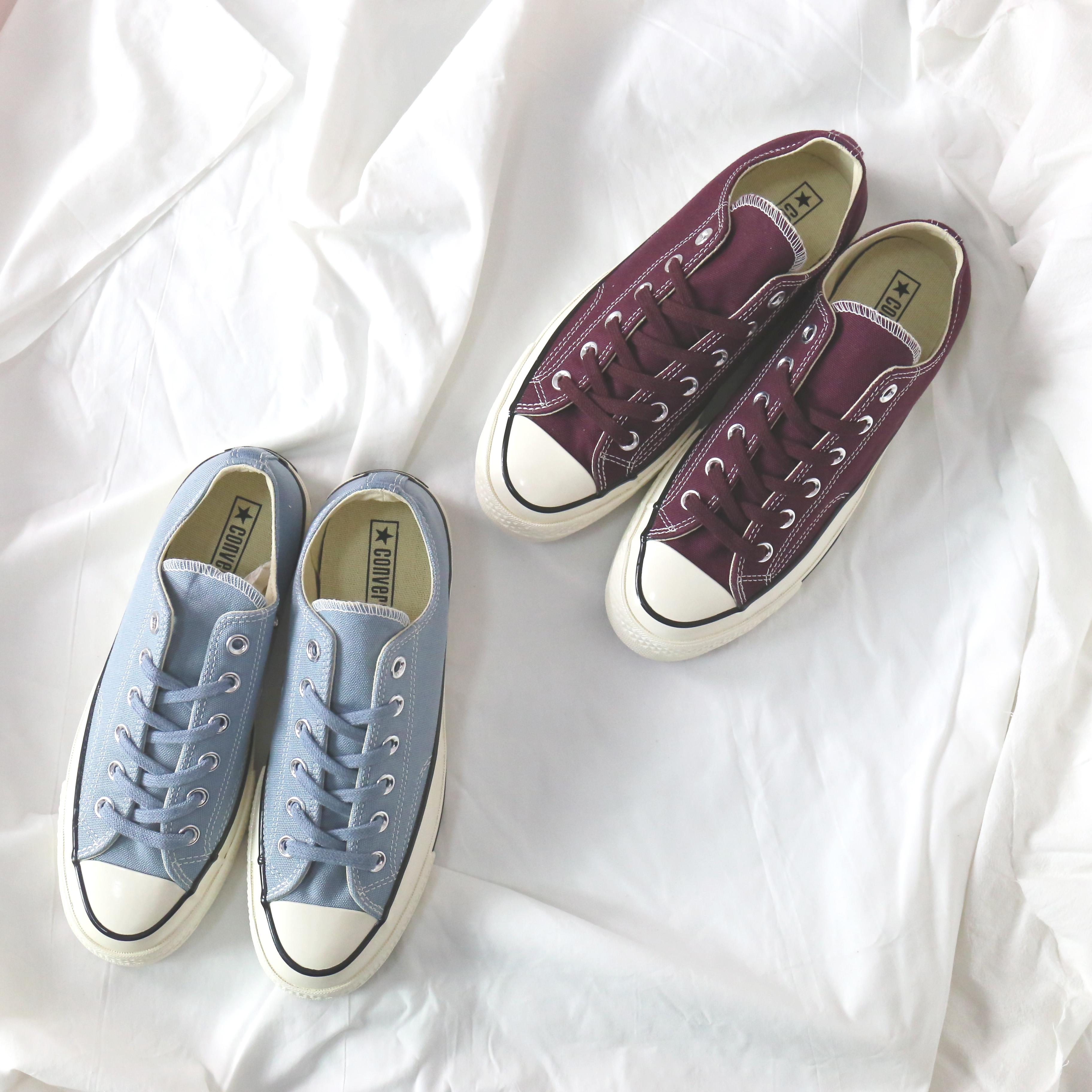现货Converse 匡威1970s酒红浅蓝低帮三星标帆布鞋157545C157544C