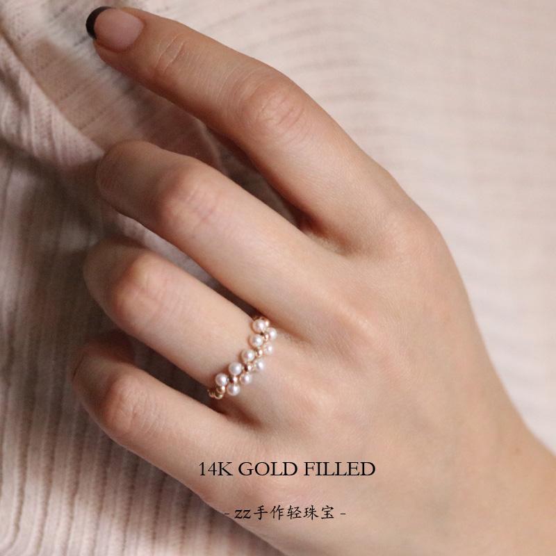 注金极小天然淡水珍珠戒指 14k