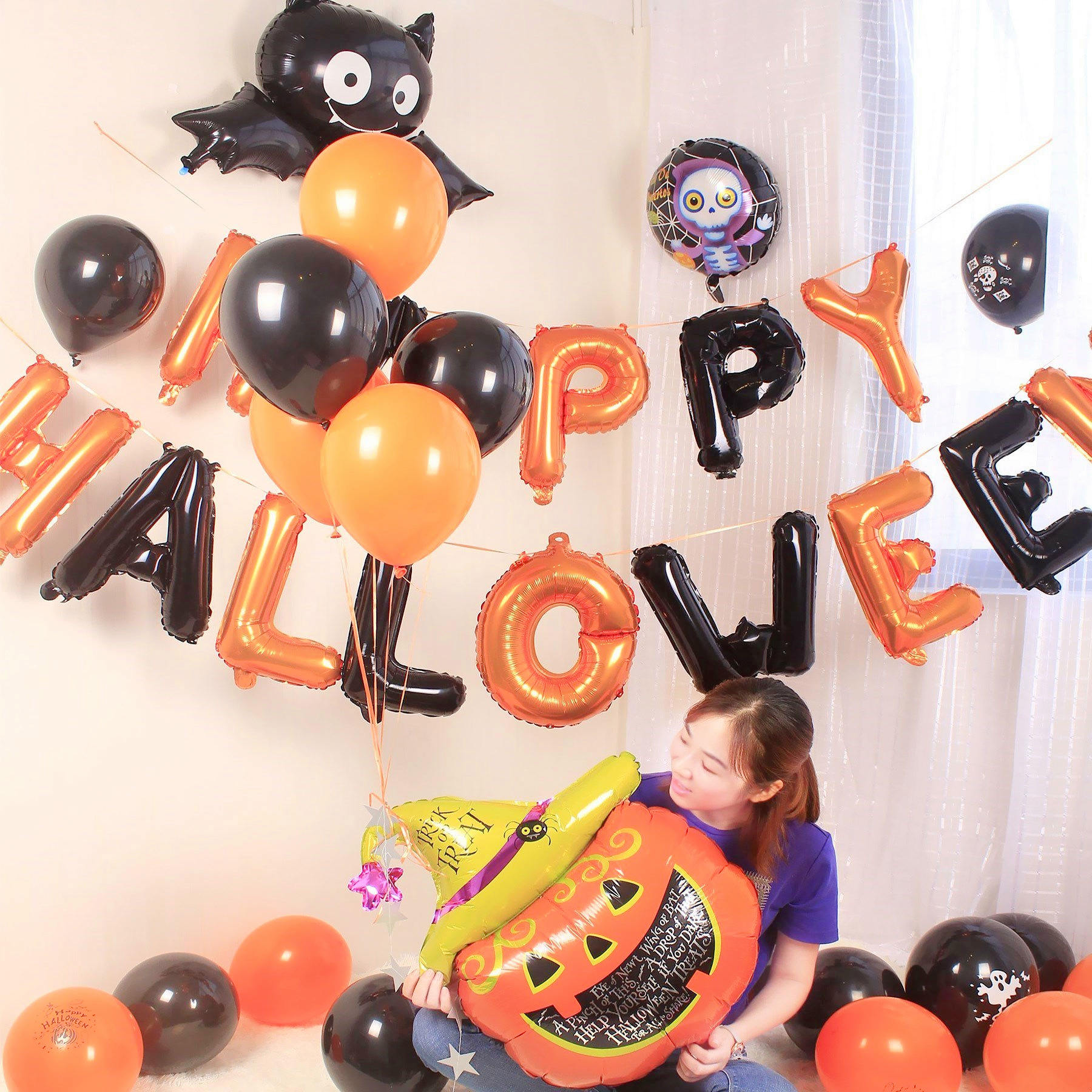 万圣节气球装饰幼儿园教室背景墙酒店商场店铺场景布置铝膜气球