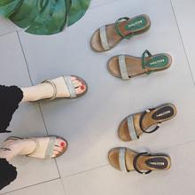 百搭平底凉拖鞋女夏时尚外穿2017新款两穿中跟女士凉鞋坡跟沙滩鞋