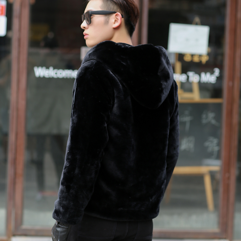 冬季外套男装貂绒韩版潮宽松短款大衣小伙精神加厚仿水貂皮草连帽