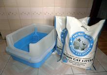 限广东包邮 双层半封闭松木猫砂盆猫厕所+ 松木猫砂2包约11kg