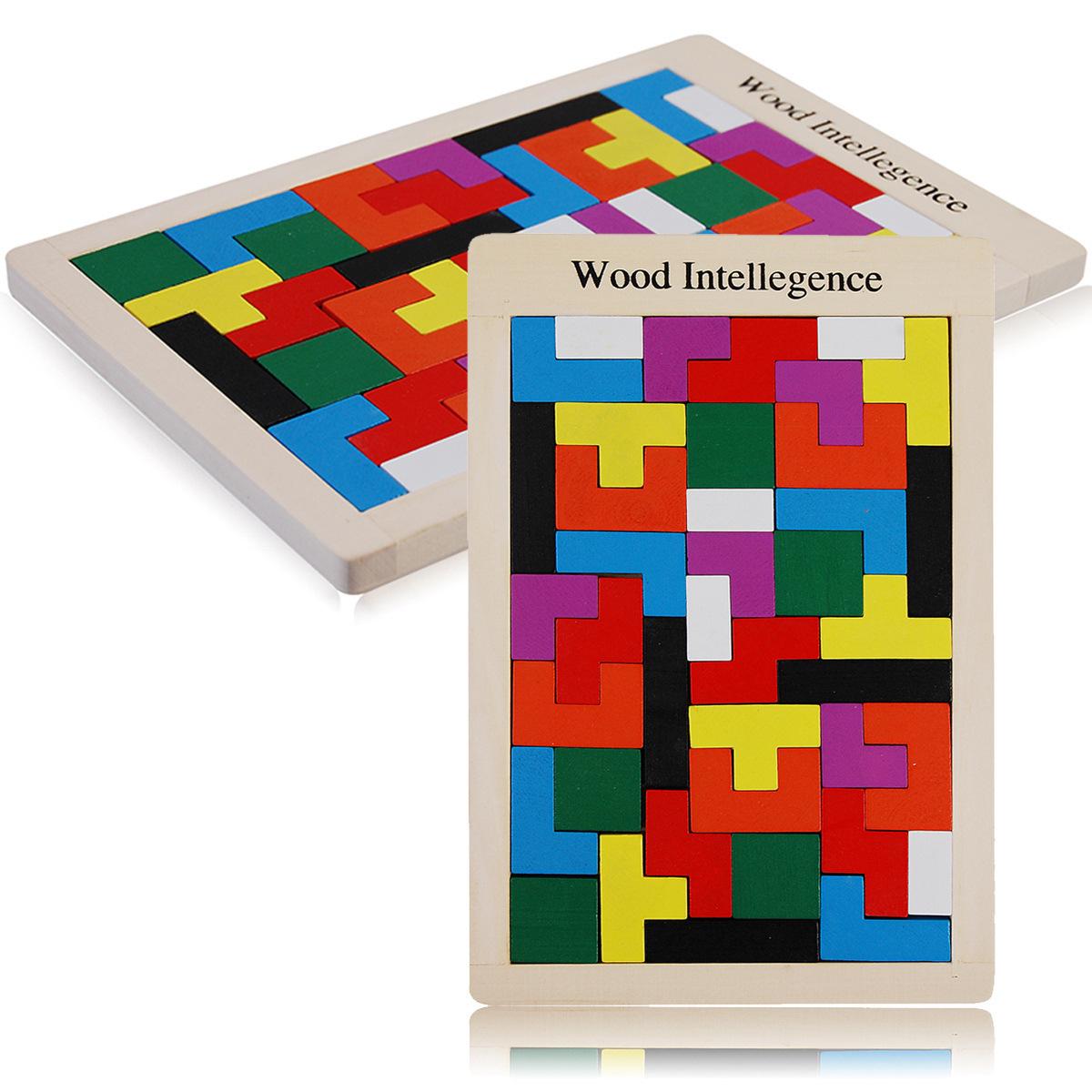 宝宝木制七巧板彩色俄罗斯方块积木儿童早教益智智力拼图拼板玩具