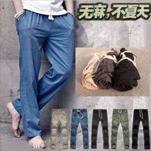 棉麻裤 轻薄春夏宽松麻料裤 男士 男裤 麻布裤 复古亚麻裤 子大码 休闲裤