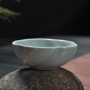 汝窑茶杯单个人功夫茶具口杯陶瓷品茗开片1个色釉德化县荣韵