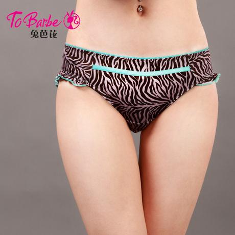 奥丽侬旗下兔芭芘正品内裤女士性感舒适斑马纹中低腰三角裤TK6018商品大图