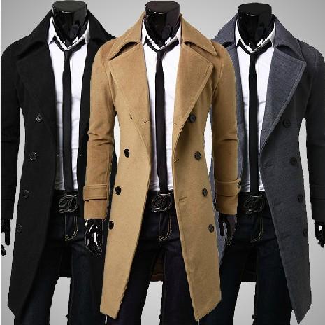 外套冬季男装男士男生加厚 加长时尚韩版修身长款毛呢风衣大衣男