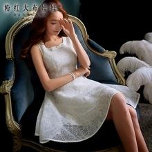 粉红大布娃娃2017夏天新款韩版白色修身大摆蓬蓬裙无袖连衣裙女图片