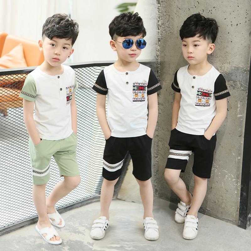 夏款中大童韓版男童套裝兩件套夏季上衣夏裝純棉男孩