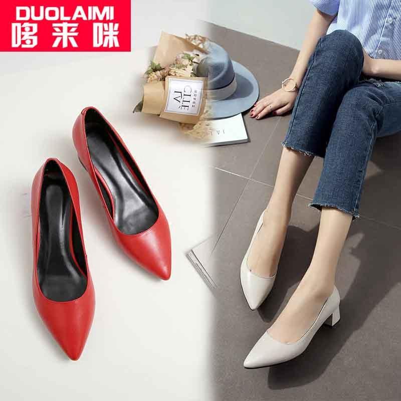 春天新款米白色单鞋女士中跟尖头通勤上班工作鞋女真皮浅口粗跟鞋