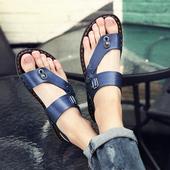 凉鞋 两用拖鞋 男夏防滑人字拖青年男鞋 男夹趾韩版 男士 沙滩鞋 皮凉鞋