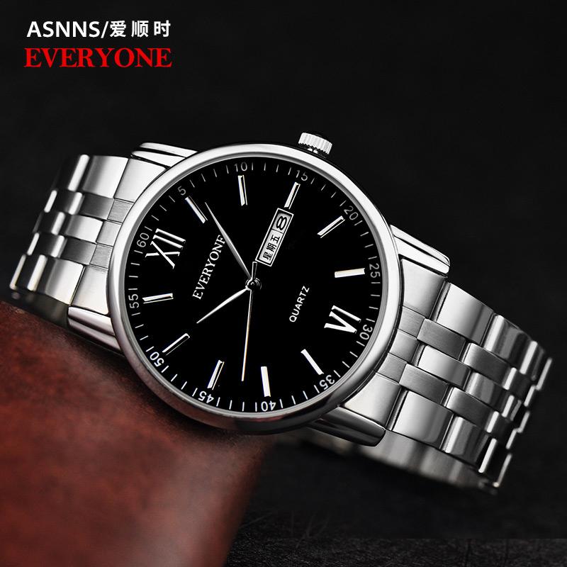手表情侣 潮流日历石英表防水时尚 一对商务休闲手表