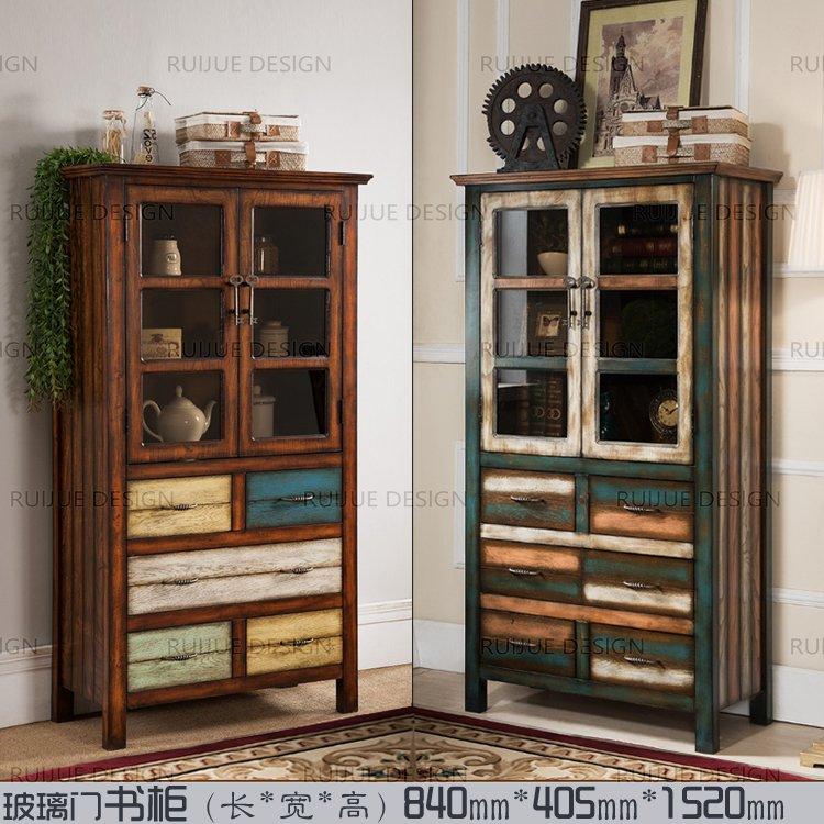 美式乡村实木书柜书架欧式复古酒柜简约家具宜家储物