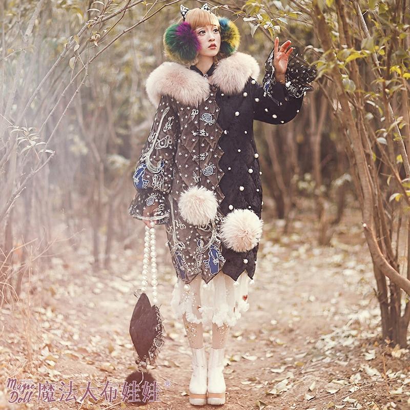 秋冬新款黑色蕾丝精致刺绣奢华珍珠修身羽绒服 2017 魔法大布娃娃