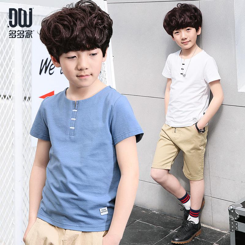 短袖儿童恤中大童纯色体恤半袖 多多家童男童夏装