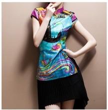 夏季新款女装时尚复古改良中国风修身显廋旗袍唐装上衣短袖图片