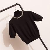冰麻针织衫女套头夏季韩版修身显瘦薄款短款短袖高领冰丝T恤上衣