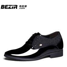 增高鞋 韩版 8cm男式商务漆皮婚鞋 男士 BEZIR秋冬季隐形内增高男鞋
