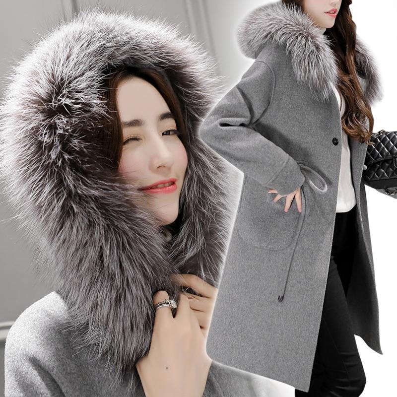 女韩版清仓羊毛狐狸外套气质时尚女装大衣长款呢子
