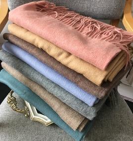 秋冬高品质羊毛围巾男女情侣欧美百搭纯色素色加厚羊羔毛围巾披肩