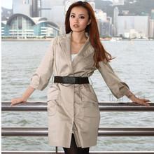 修身 风衣外套SF90702 长款 女装 OL通勤时尚 韩版 OSA欧莎送腰带春秋装