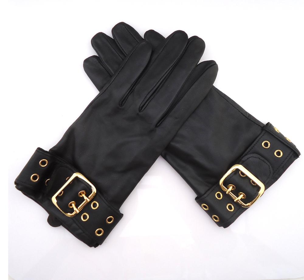 羊皮手套秋冬季女韩版真皮薄款手套金属配饰保暖手套