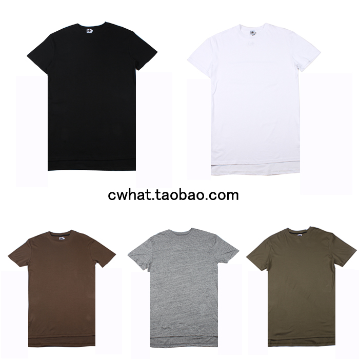 加长高街必备素色纯色前短后长打底短袖T恤JUSTIN BIEBER同款GD潮