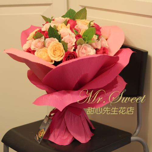 混色玫瑰花瓣成都同城鲜花速递送花