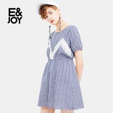 E&joy 连衣裙17082213548 2017夏季格子休闲时尚 艾格 Etam