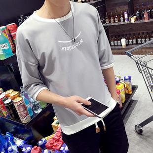 (2件装)夏季2017男士短袖T恤韩版宽松七分袖7分半袖潮流个性衣服
