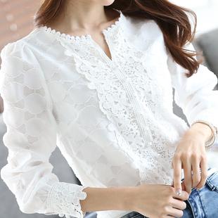 时尚百搭蕾丝雪纺衫宽松休闲打底衫
