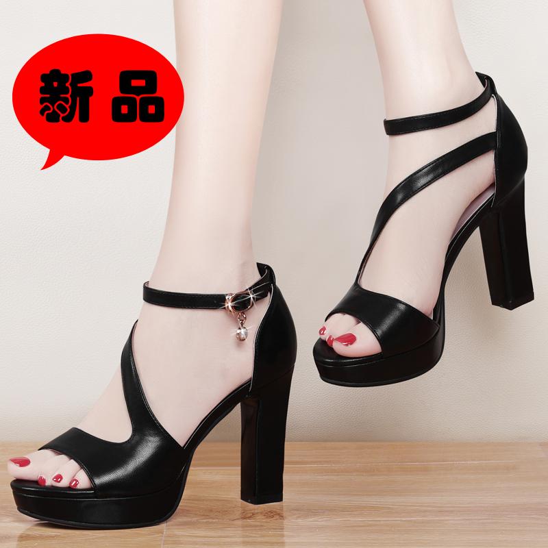 性感黑色高跟鞋凉鞋一字扣带夏天夏季鞋子