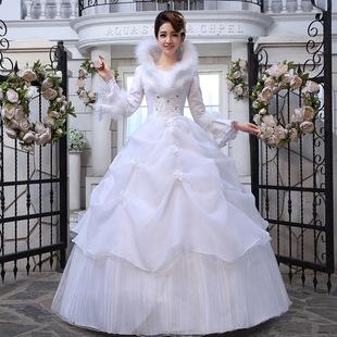 婚纱礼服2017冬季婚纱新款新娘结婚冬天公主蓬蓬裙齐地冬款长袖女