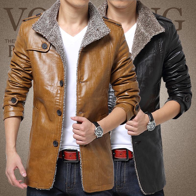 冬季中长款新款翻领专柜仿皮皮衣外套修身型男装大码休闲不二皮衣