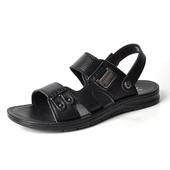 意尔康男鞋夏季凉鞋2017新款日常休闲真皮透气潮鞋两用拖鞋沙滩鞋