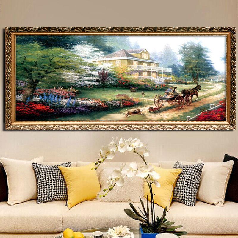 沙发背景墙壁画欧式山水