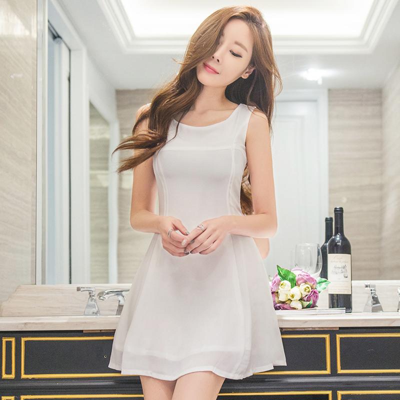 2016新款无袖雪纺连衣裙