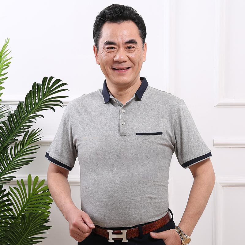 中年夏季夏装男士棉衫大码男装短袖中老年人爸爸堡狮洛