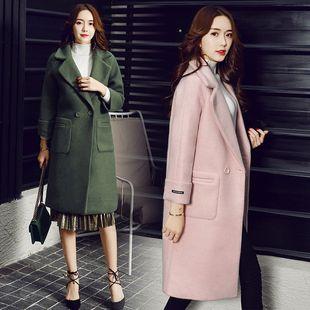马海绒毛呢外套女中长款2017春秋新款女装韩版修身学生尼妮子大衣