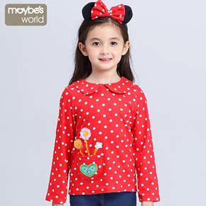 麦比 女童长袖T恤秋款 儿童波点娃娃衫韩版上衣 2016秋装新款童装