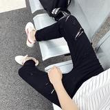 夏季牛仔裤男一字破洞牛仔裤男小脚修身薄款韩版潮青少年乞丐黑色