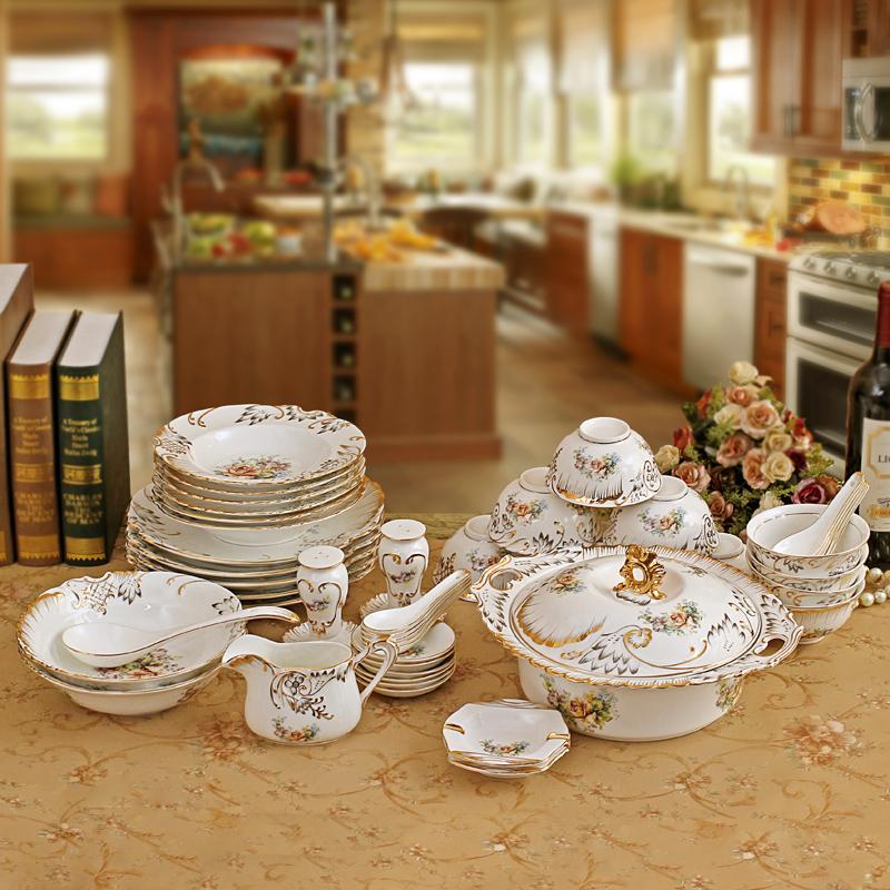 陶瓷器骨瓷餐具套装70头欧式式金边结婚礼品碗碟礼物