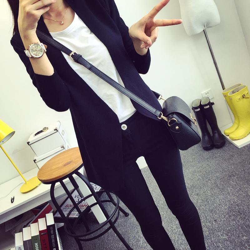 歌莉韵2015秋季新款女装 韩版宽松显瘦百搭纯色针织衫开衫小外套