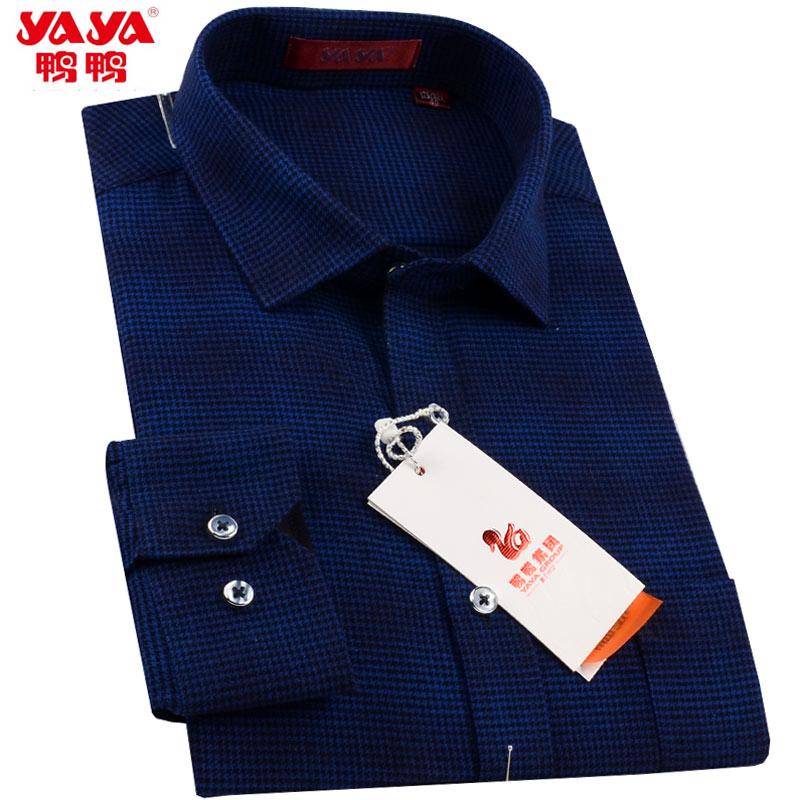 鸭鸭男士纯棉长袖衬衫新品中年爸爸装藏蓝色格子休闲男式红色衬衣