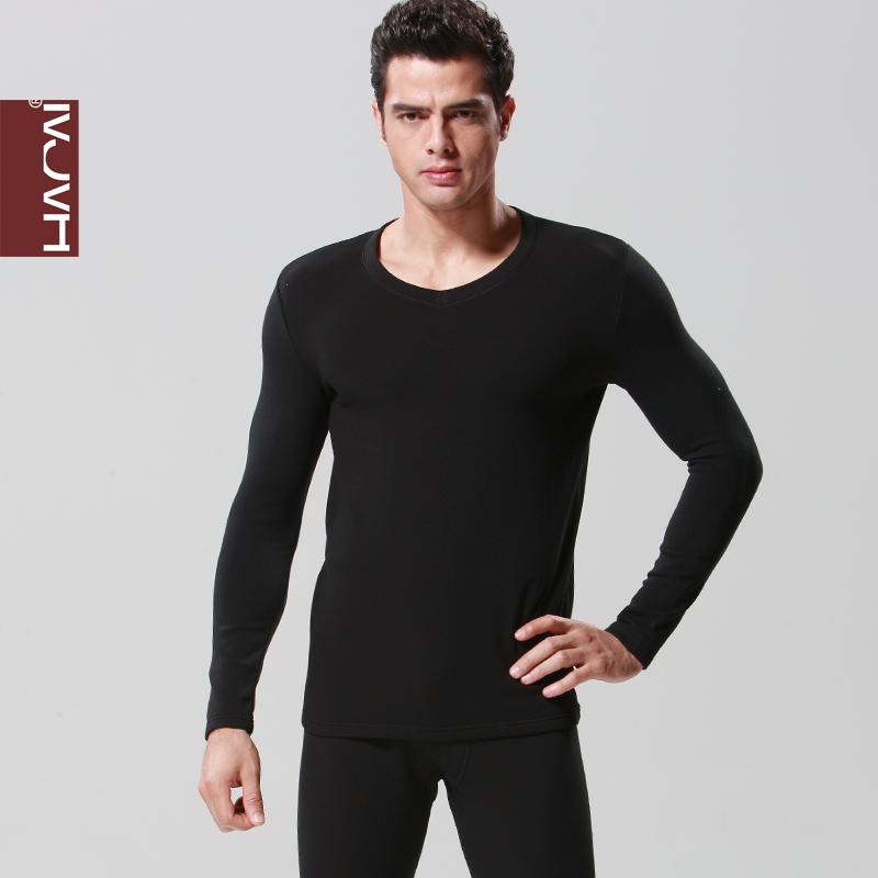 韩彩莫代尔男士中厚木莫代尔拉绒保暖套装黑色青年保暖内衣秋衣裤
