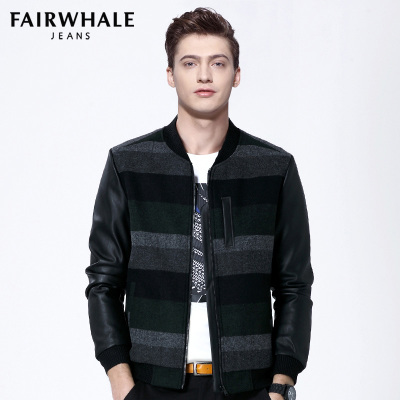 马克华菲夹克男士修身羊毛外套2017春装韩版条纹拼皮jacket 7500