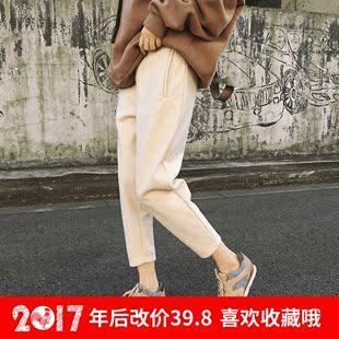 2016韩版新款宽松显瘦毛呢休闲裤简约冬季九分西装哈伦裤女学生潮