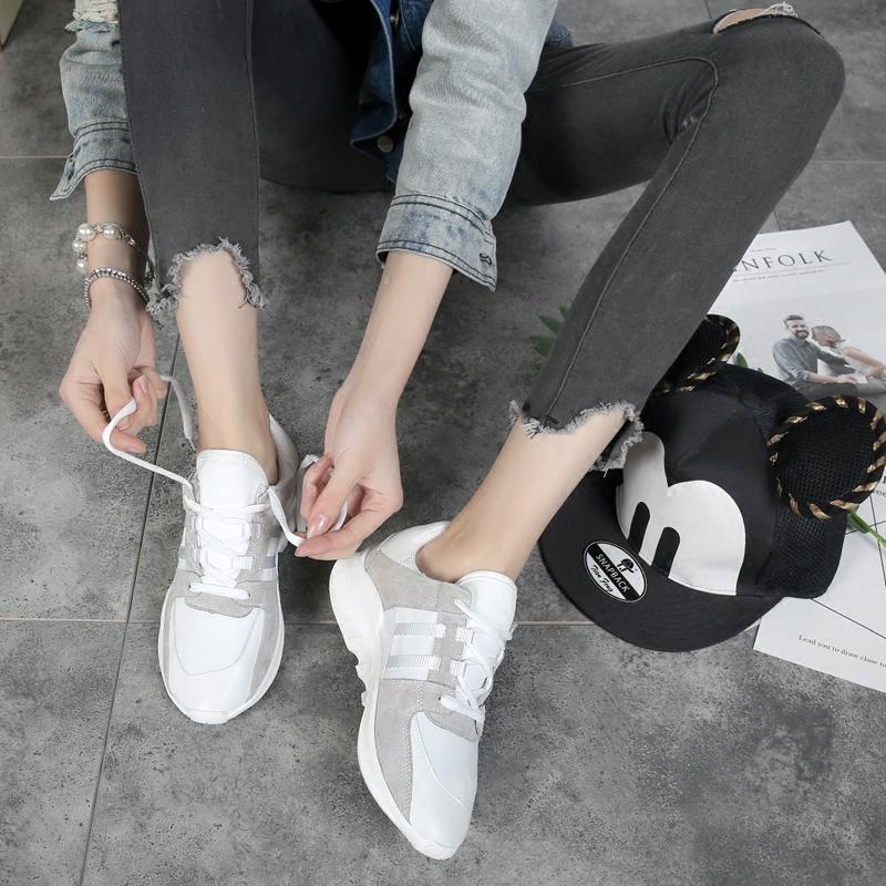 白色跑步春季女鞋休闲鞋透气百搭韩版运动鞋